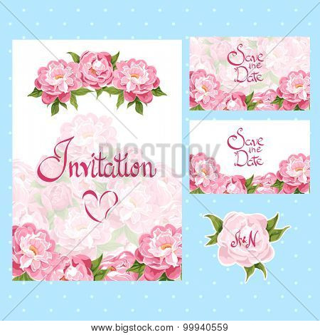 set of invitation cards with floral elements