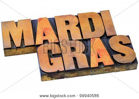 Mardi Grass letterpress typography - isolated text in vintage wood type stained by color inks