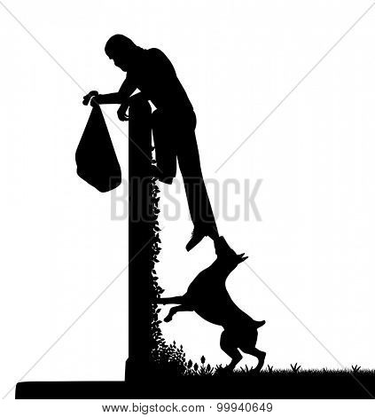 EPS8 editable vector silhouette of a guard dog stopping a thief from escaping over a high garden wall with figures as separate objects
