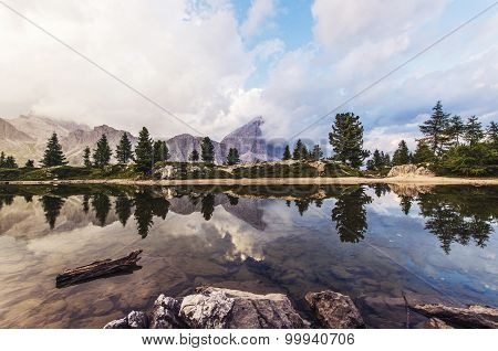 Fascinating reflections of the Dolomites mountains