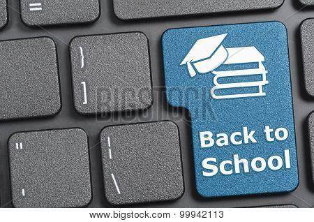 Blue back to school key on keyboard