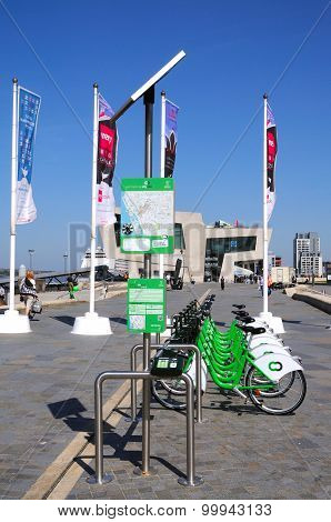 City hire bikes at Pier Head, Liverpool.