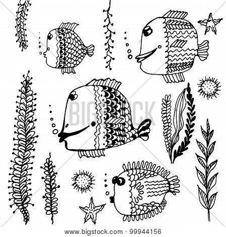 set Doodle collection of fish pattern vector illustration