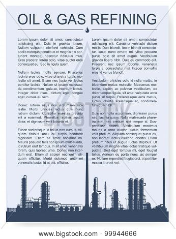 Oil and gas refinery or chemical plant silhouette