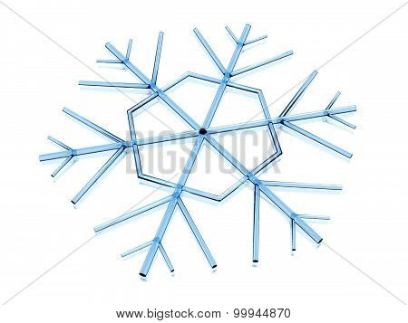 Icy snowflake on white background