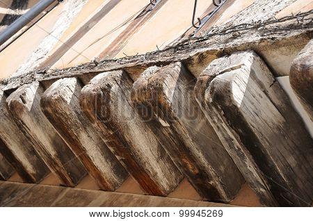 Medieval wooden beams.