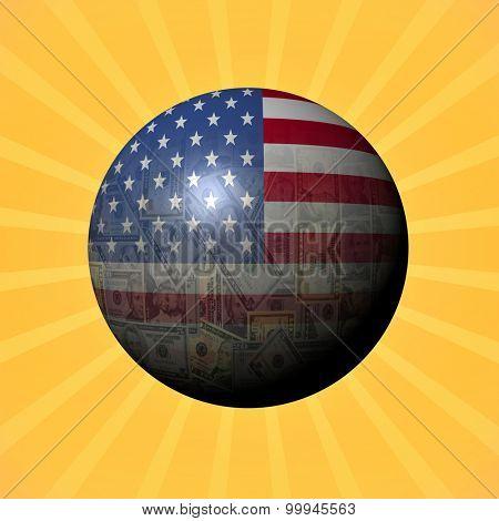USA flag American sphere on sunburst illustration