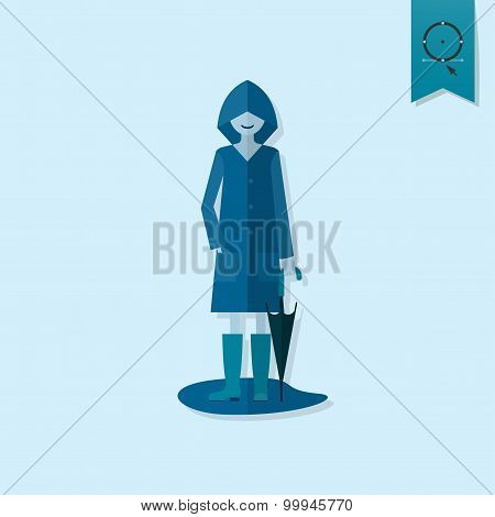 Woman with Umbrella and Raincoat on the Puddle