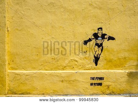 A Superman Painted On The Wall