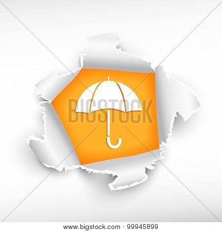 Umbrella And Breakthrough Paper Hole