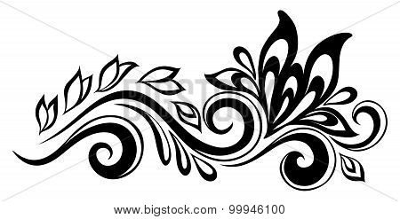 Beautiful Floral Element. Black-and-white Flowers And Leaves Design Element. Floral Design Element I