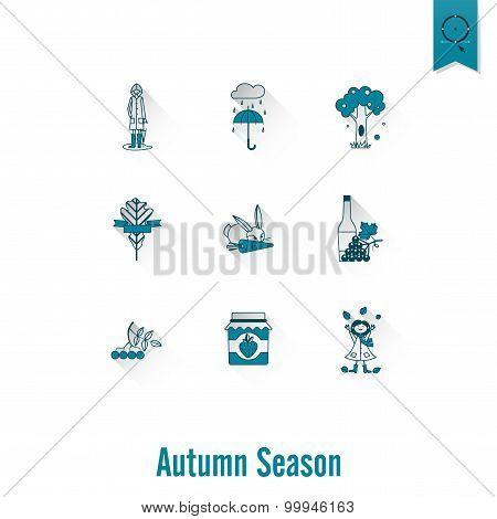 Set of 9 Flat Autumn Icons