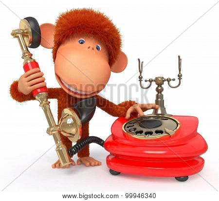 3D Monkey With Phone