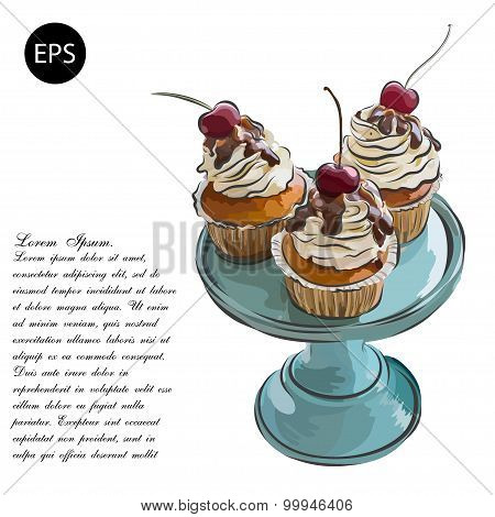Cute vector party cupcake on delicate striped background. Cupcake collection.