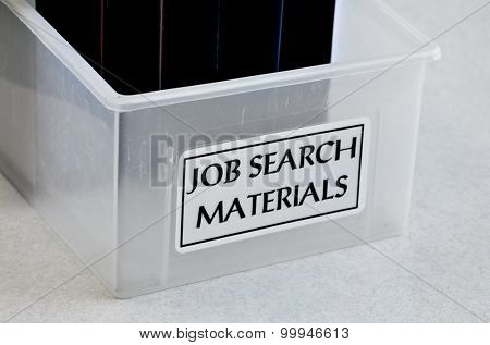 Box of job search materials to help assist in finding employment