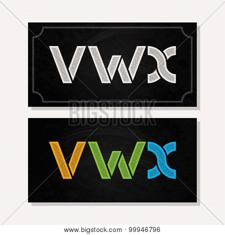letter V W X logo alphabet chalk icon set background