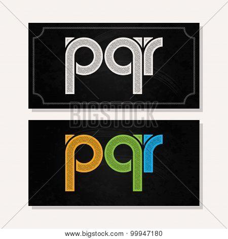 letter P Q R logo alphabet chalk icon set background