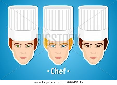 Set of vector illustrations of a male chef. Man. The mans's face. Icon. Flat icon. Minimalism.