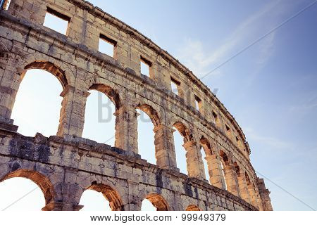 Roman Amphitheater Arena, Ancient Coliseum Architecture In Pula