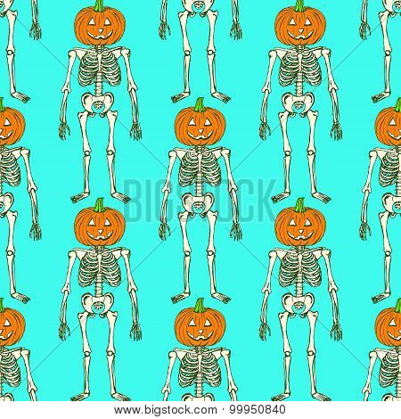 Sketch Skeleton With Curved Pumpkin Head
