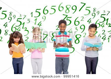 Elementary pupils reading against numbers