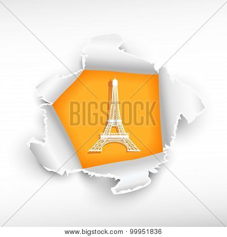 Eiffel Tower And Breakthrough Paper Hole