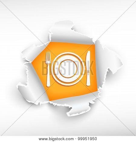 Plate, Fork And Knife And Breakthrough Paper Hole