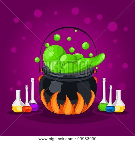 Sweet Halloween. Happy Halloween. Poster, postcard for Halloween. The holiday, witches cauldron.