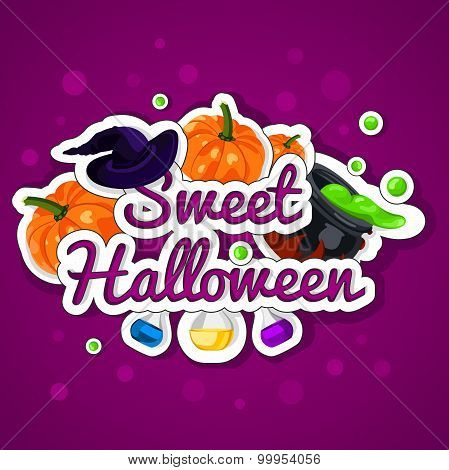 Sweet Halloween. Happy Halloween. Poster, postcard for Halloween. The holiday, pumpkins.