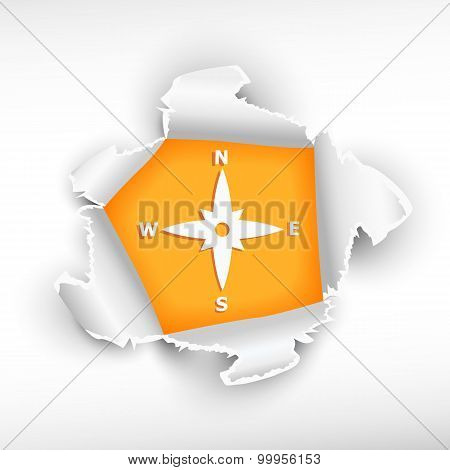 Compass And Breakthrough Paper Hole
