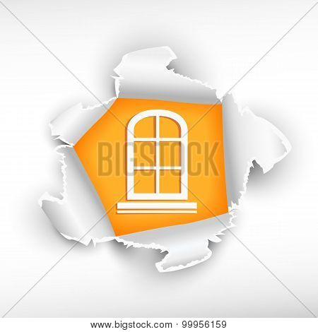 Closed Window And Breakthrough Paper Hole
