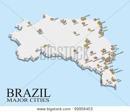 An illustration of Brazil map with major city population shown in bars