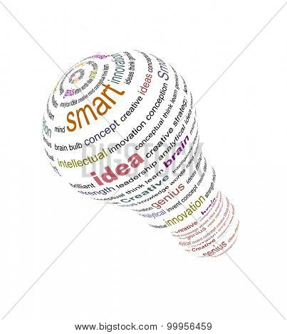 An illustration of bulb made with text