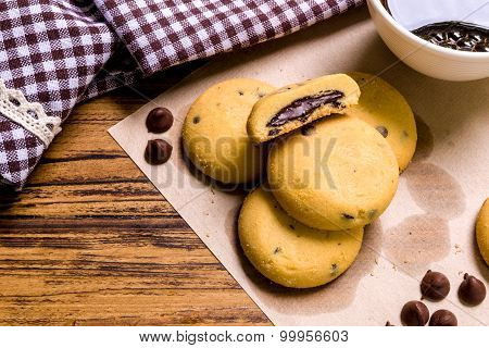 Snack With Coffee Background / Snack With Coffee / Snack With Coffee On Wooden Background