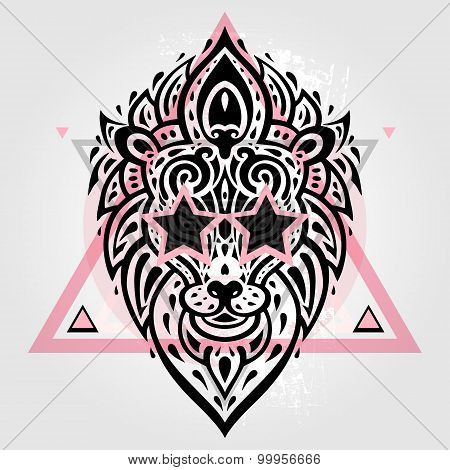 Lions head. Tribal pattern.
