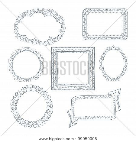 Curly frames and ornaments doodles