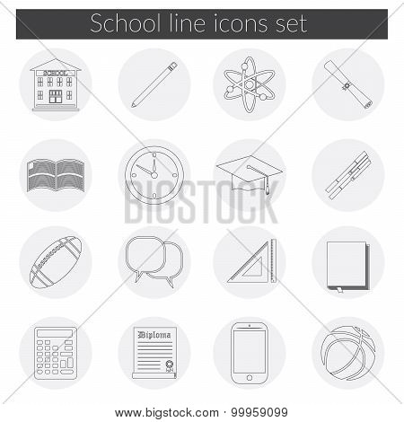 Back To School Icon Vector Set, School Building, Pen, Pensil, Sport Items, Diploma And Graduation Ca
