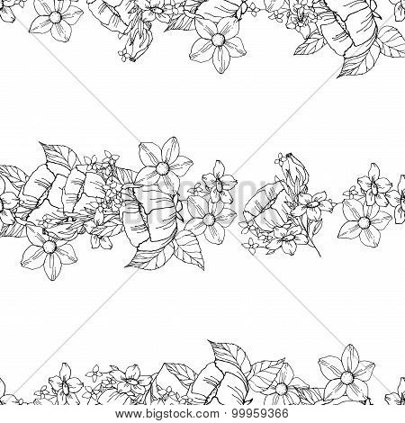 Seamless black and white floral pattern