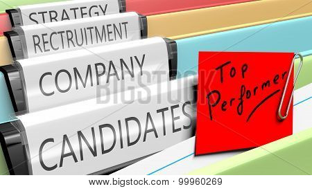 Files on top performer candidates for a company position