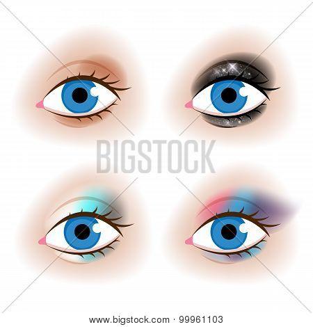 Realistic woman's eyes vector illustration.