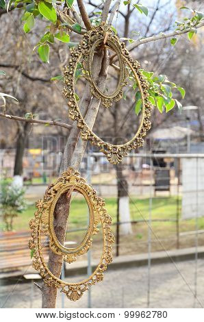 Vintage openwork frame for mirrors. Flea market in Tbilisi. Georgia