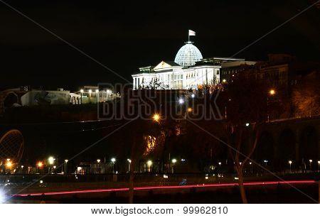 View of the Presidential Palace in Avlabari night. Tbilisi, Georgia