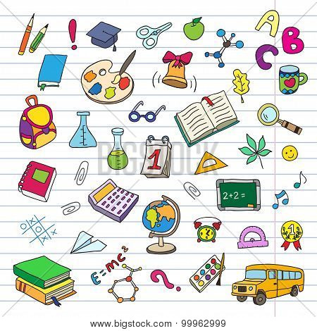 Back to school on a exercise book sheet grid