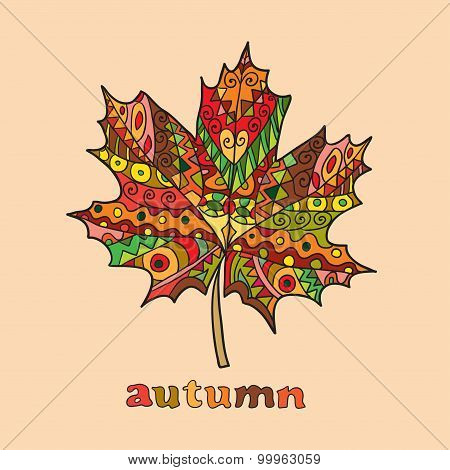 Isolated autumn bright vector maple leaf