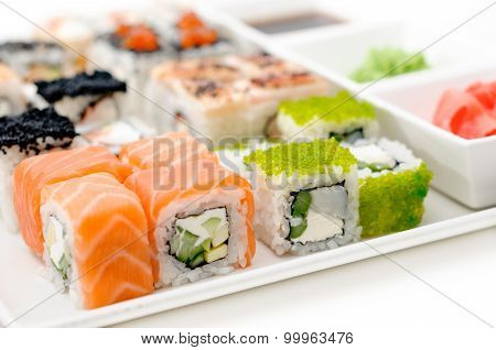 delicious sushi rolls on the plate