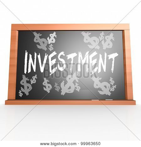 Bllack Board With Investment Word