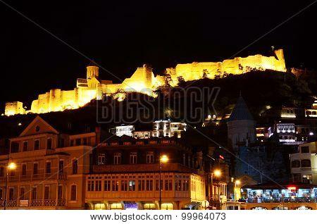 View of Narikala fortress at night. Tbilisi, Georgia