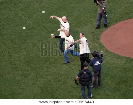 San Francisco Giants Legends Throw Out The Honor Pitch To Start The Game
