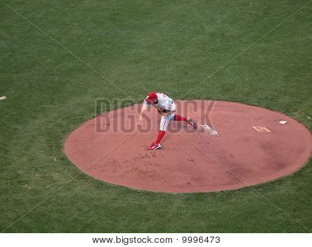 Philadelphia Phillies Joe Blanton Throws Pitch From Mound
