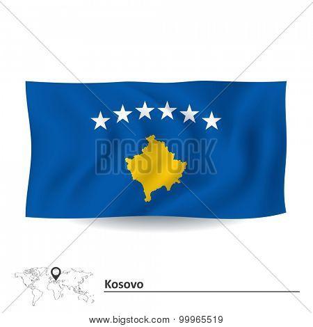 Flag of Kosovo - vector illustration